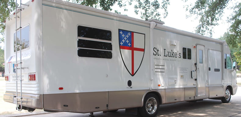 Mobile medical van from St Luke's Episcopal Medical Ministry in Louisiana.